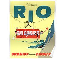 Rio Vintage Travel Poster Restored Poster