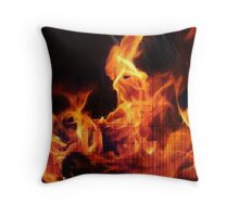 Digital Fire ,Virtual Flame Throw Pillow
