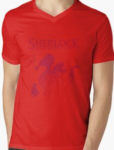 Sherlock - A scandal in Middle Earth (red) Mens V-Neck T-Shirt