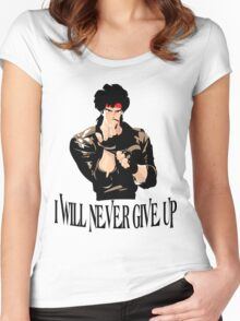 Never Give up Design T-shirt Women's Fitted Scoop T-Shirt