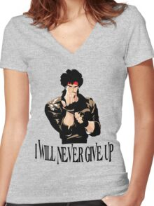 Never Give up Design T-shirt Women's Fitted V-Neck T-Shirt