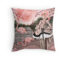 Flamingo Fairy - Pink Moon Throw Pillow