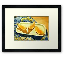 Oranges on Blue Paisley  Framed Print