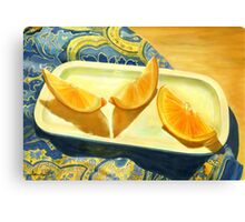 Oranges on Blue Paisley  Canvas Print