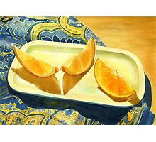 Oranges on Blue Paisley  Photographic Print