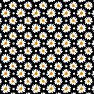 Daisies Pattern (black background) by sirwatson