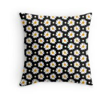 Daisies Pattern (black background) Throw Pillow
