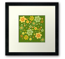 Green & Yellow flowers scattering Framed Print