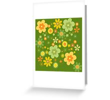Green & Yellow flowers scattering Greeting Card
