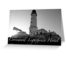 Corsewall Lighthouse Hotel. Black and white front view. Greeting Card