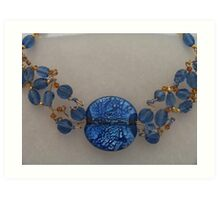 Blue Beaded Collar Art Print
