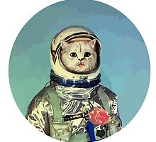Cute cat astronaut with rose by funnyshirts