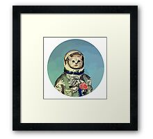 Cute cat astronaut with rose Framed Print