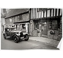Classic Car No2: Ancient Alfriston Village, Sussex, UK. Poster