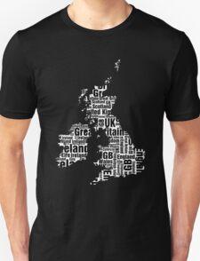 Typographic British Isles - Black and White T-Shirt