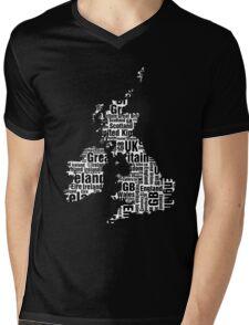 Typographic British Isles - Black and White Mens V-Neck T-Shirt