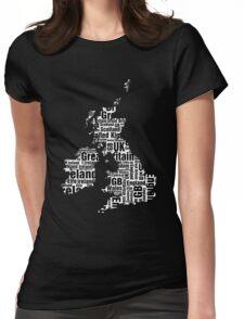 Typographic British Isles - Black and White Womens Fitted T-Shirt