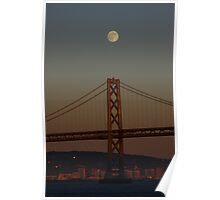 full moon over the San Francisco Bay Bridge Poster