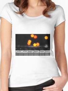 Synthesizer & Bokeh Lights Women's Fitted Scoop T-Shirt