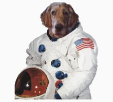 Funny dog astronaut with american flag Kids Clothes