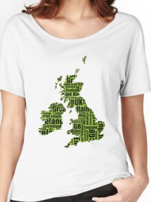 Typographic British Isles - Martian Green and Black Women's Relaxed Fit T-Shirt