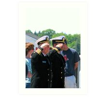 Navy Officers Salute the Flag Art Print