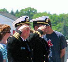 Navy Officers Salute the Flag by Patty Gross