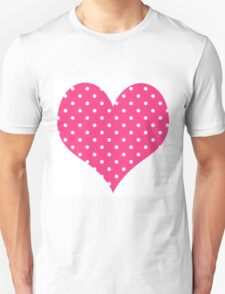 Hot Pink And White Polka Dots Unisex T-Shirt