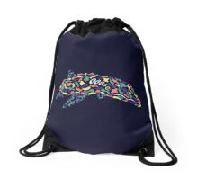 Abstract Dolphin Drawstring Bag