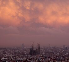 barcelona cloud layers at sunset, sagrada familia by sjaakzoon