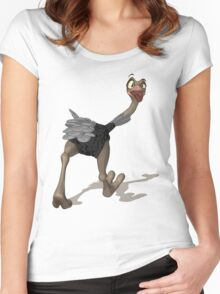 Ostrich T-Shirt - Digital Painting Women's Fitted Scoop T-Shirt