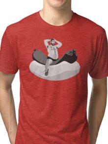 Big hairy bear riding giant hot dog Tri-blend T-Shirt