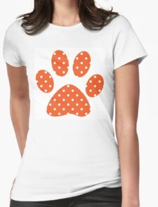 Orange Polka Dots Womens Fitted T-Shirt