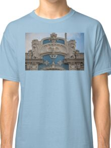Latvia. Riga. Art Nouveau Building with Sculptures. Detail. Classic T-Shirt