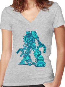 Robot Sketch Women's Fitted V-Neck T-Shirt