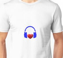 Heart Blue Headphones Unisex T-Shirt