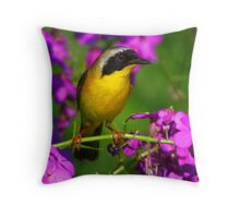 Pink a Boo - Common Yellowthroat Warbler Throw Pillow