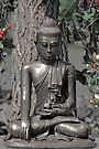 Quiet Buddha with Flowers, Hidden Gardens, Tramway Theatre, Glasgow, Scotland, UK, Europe by simpsonvisuals