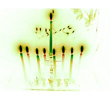 Hanukkah Candles Reflected in Pale Green Photographic Print