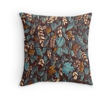 Leaves color blue Throw Pillow