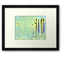 Bent Hanukkah Candles in Blue  Framed Print