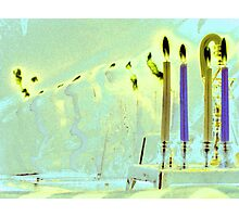 Bent Hanukkah Candles in Blue  Photographic Print