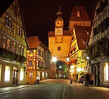 Rothenburg  - Markusturm by Night #1 by David J Dionne