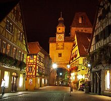 Rothenburg  - Markusturm by Night #2 by David J Dionne