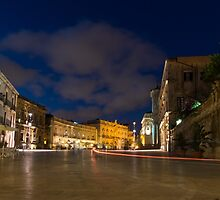 Car Light Trails on the Elegant Duomo Square in Ortygia, Syracuse by Georgia Mizuleva