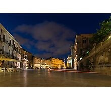 Car Light Trails on the Elegant Duomo Square in Ortygia, Syracuse Photographic Print