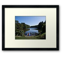 Two boys fishing Framed Print
