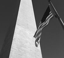 Washington Monument with American Flag B/W by corder-courtier