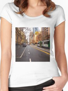 Collins Street Melbourne VIC Australia Women's Fitted Scoop T-Shirt