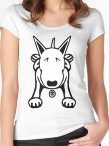Cartoon English Bull Terrier Sprawl Tee  Women's Fitted Scoop T-Shirt